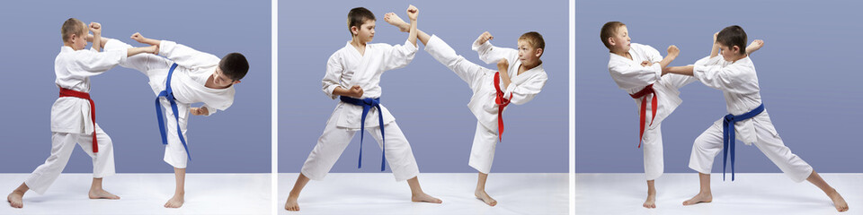 Blows and blocks of karate in perfoming athletes collage