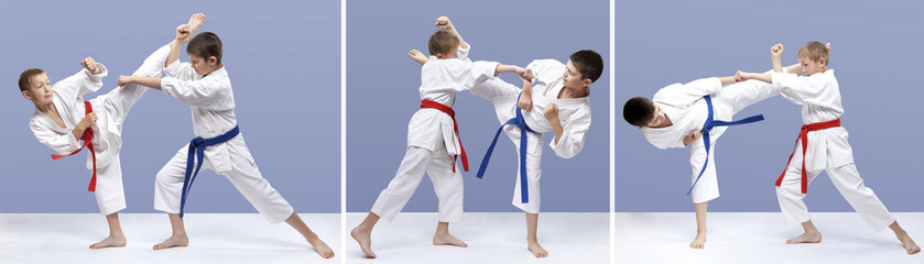 Collage athletes are training blows and  blocks karate
