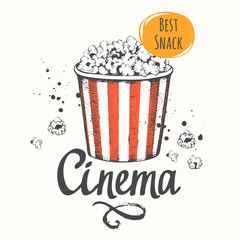 Vector illustration with sketch popcorn bucket.