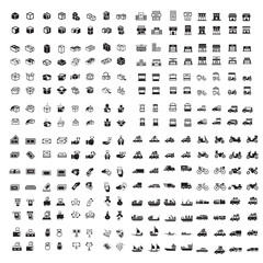 box, Transport, money and shop set 256 item icons