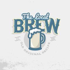 Local Brew Emblem Template. Beer Mug Vector Image.