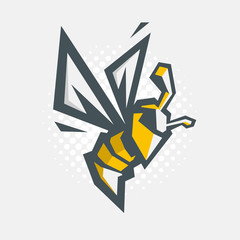 Angry Bee Vector Cartoon Illustration. Icon.