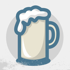 Beer Mug Vector Icon. Distressed Background.