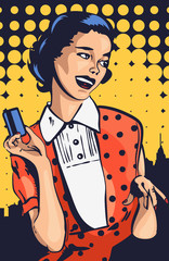 Retro woman with credit card vector pic