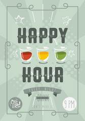 Happy Hour Concept Poster Template. Vector Image.