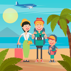 Happy Family on Travel by Airplane. Young Family on the Tropical Vacation. Vector illustration