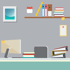 Office Work Place with Computer and Paper Documents. Vector Background