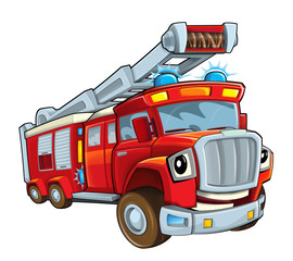 Cartoon funny firetruck - isolated - illustration for children