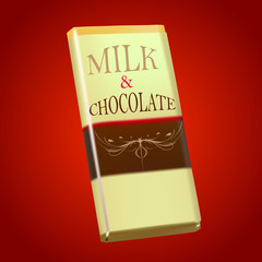 package of milk & chocolate  on red background