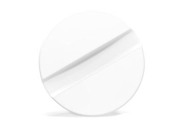 White close-up tablet isolated on white background. 3d illustration