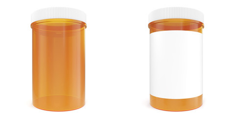 Set bottle of prescription pill with labels template. 3d illustration