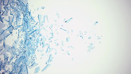 Abstract broken blue glass into pieces isolated on white background. 3d illustration