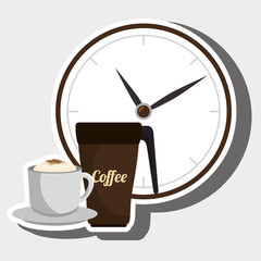 coffee and watch isolated icon design, vector illustration  graphic