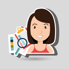 women with papers isolated icon design, vector illustration  graphic