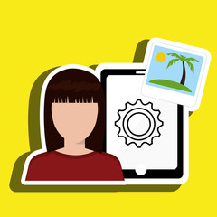 persons with smartphone isolated icon design, vector illustration  graphic
