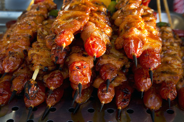 Delicious grilled chicken meat and vegetable kebabs