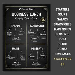 Business Lunch Template on chalkboard