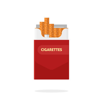 Open cigarettes pack box flat style vector illustration isolated on white background, cigarette packet carton box
