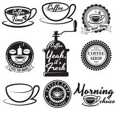 Set of vintage coffee badges and signs. Contains coffee cups, coffee beans, coffee mills and other design elements combined with different coffee slogans. For coffee shops, restaurants or cafes.