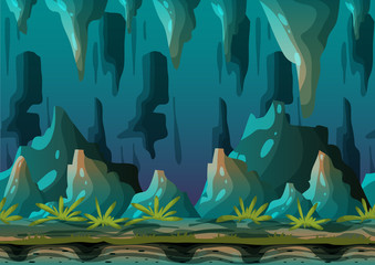 Cartoon vector cave landscape with separated layers for game and animation, game design asset