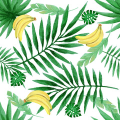 Watercolor seamless pattern with fresh bananas and tropical leaves.