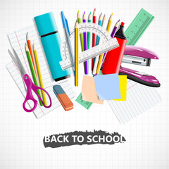 Stationery equipment. Back to school background with blackboard and school supplies.Stationery equipment. Office and school supplies. Vector realistic illustration
