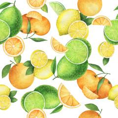 Watercolor seamless pattern with juicy oranges, mandarins, lemons and lime.
