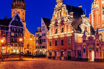 Wall Mural - Riga, Latvia: Old Town at night