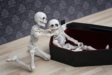 Selfie, skeleton self portrait with his dead friend in the coffin