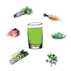 Vegetable green cocktail in glass