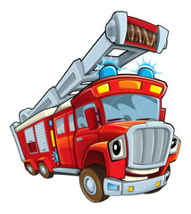 Cartoon funny firetruck - isolated - caricature - illustration for children