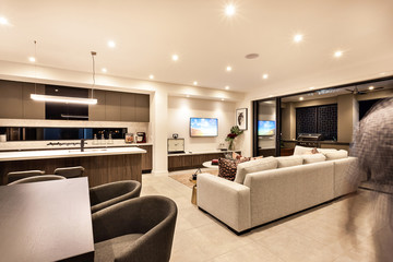 Luxury house interior with living room and the kitchen
