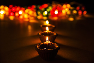 beautiful diwali lighting, selective focus