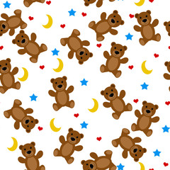 Teddy bears seamless pattern