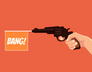 Hand hold revolver with bang flag. Vector flat cartoon illustration