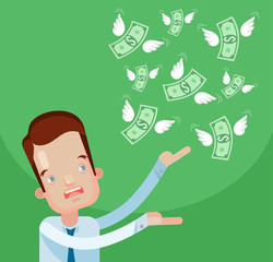 Businessman loss money. Vector flat cartoon illustration