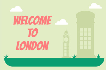 Welcome to london. Vector flat cartoon banner illustration