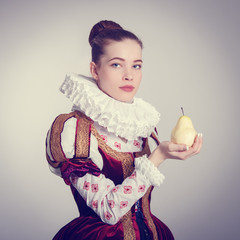 Portrait of a young woman in historical costume.