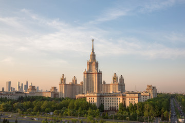 Sunset campus of Lomonosov Moscow State University under cloudy sky