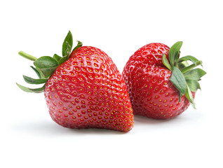 Perfect strawberry on white background. Close up. High resolution product.