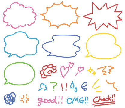 カラフルなペンで描いたような手書き風ふきだし・感情アイコン セット素材・白背景