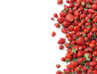 Fresh strawberry isolated white background. Copy space. Top view, high resolution product.