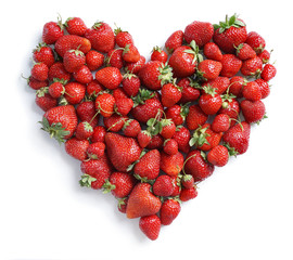 Heart made from strawberry, isolated on white background. Fruits diet concept. Top view, high resolution product.
