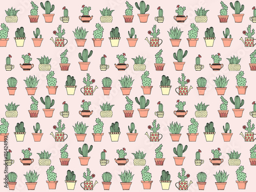 Colorful background with cute cactus in simple hand drawn