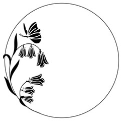 Elegant round frame with bluebells and butterfly. Design element for advertisements, flyer, web, wedding and other invitations or greeting cards.Vector clip art.