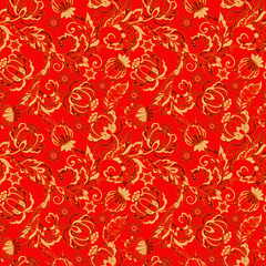 floral vector background. vintage pattern in indian batik style.
