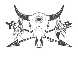 Animal skull with arrows