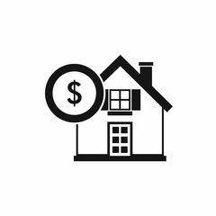 House and dollar sign icon in simple style isolated vector illustration