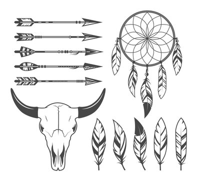 Indian, hunter, tribal objects, vector set