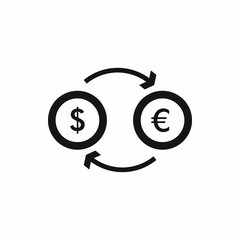Euro dollar euro exchange icon in simple style isolated vector illustration